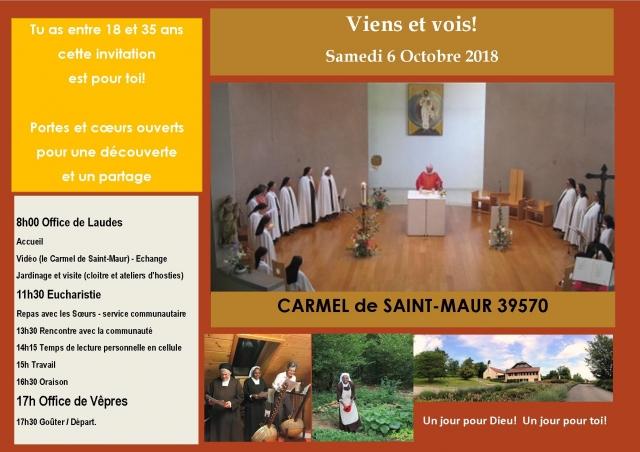 Invitation jeunes 6 Octobre 2018 Carmel de Saint Maur
